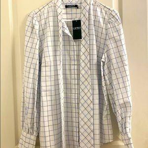 Ralph Lauren Windowpane Check Tie Blouse Size L